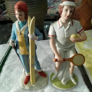 ¥300  陶器の人形❗二個セットです。 高さ20cm