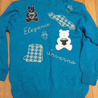 ロング丈セーター 青緑