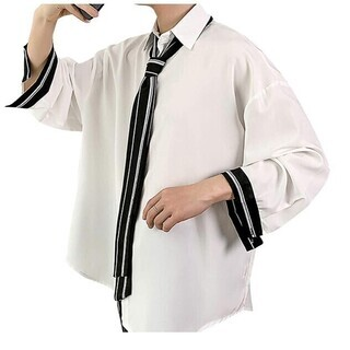 メンズ シャツ 長袖 ストライプ柄 ネクタイ付き ビッグシルエットXL