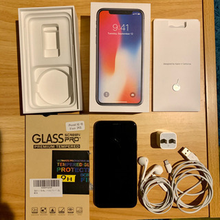 iPhone X 64GB SIMフリー 液晶ガラスカバー付き
