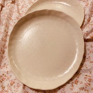 値下げしました。焼物風  ペア パスタ皿&お箸&フォーク