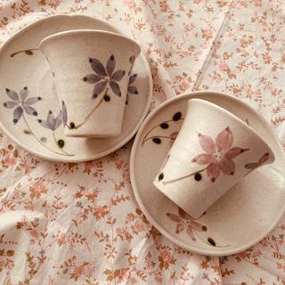焼物   ピンク&ブルー たち吉 コップ&小皿