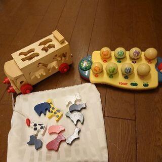 おもちゃ 二個セット 木のバス トミー ドレミファ
