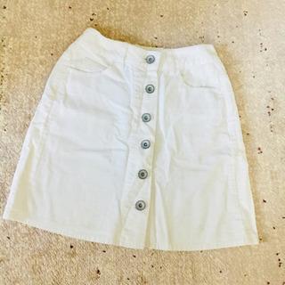 白 コーデュロイ  膝丈スカート