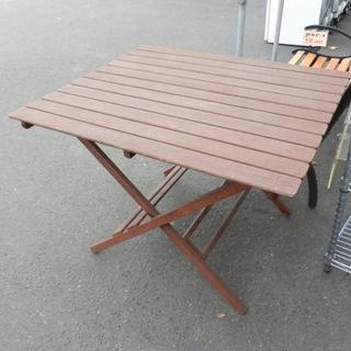 ガーデンテーブル 幅90×80 木製 ウッド 折りたたみ テラス...