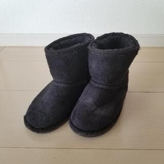 キッズ ボア ブーツ 黒 17cm