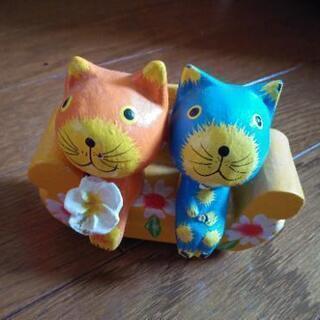 猫のカップル     置き物