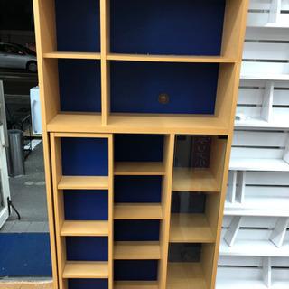スライド式本棚 一部ガラス扉、引き出し付