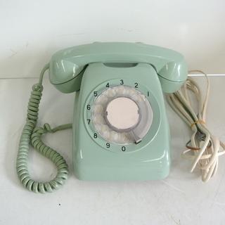 昭和レトロな緑電話 ダイヤル式 回転式 カラー グリーン 日本電...