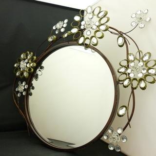中古品 44cm アンティークミラー ウォールミラー 鏡 装飾 ...