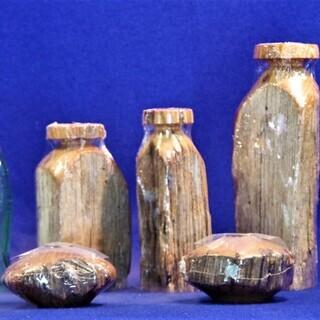 USA100年前の栗の木材 一輪挿しと燭台  古木 ビンテージ品