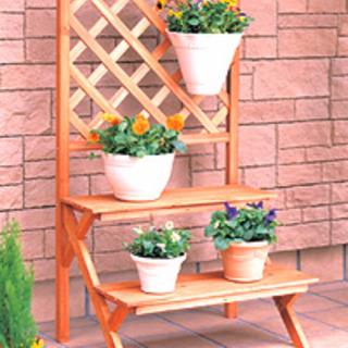 花 2段 フック 木材 花台