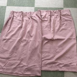 厚手カーテン2枚 ピンク 腰窓 中古品