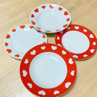 可愛いハート柄  平皿 深皿 ペア 4枚セット