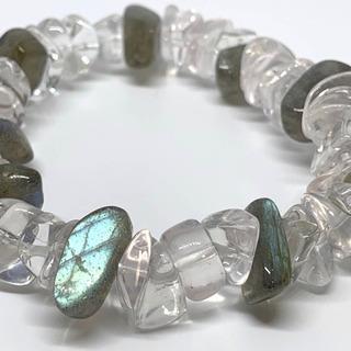天然石ブレスレット/ラブレドライト・水晶(クォーツ)/内径15cm