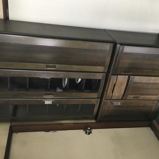 大きめの食器棚 天然木製 茶色 幅102×高200×奥43cmく...