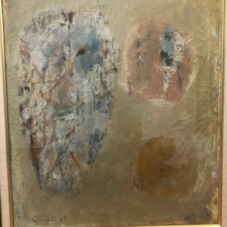 松本忠義 絵画「梟の柿」油彩10号