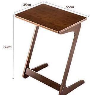 サイドテーブル 竹製 Z字型 (ブラウン/ 幅55×奥行35×高...