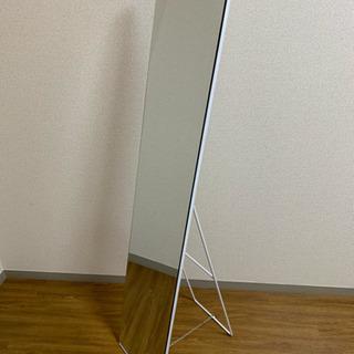 鏡 スタンドミラー ホワイト シンプル