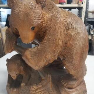 親子熊の木彫りの置物