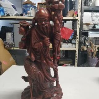 アンティーク 木彫り 仙人の像