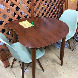 ダイニングテーブル3点セット◆変形テーブル&かわいい緑の椅子2脚...
