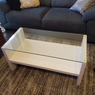 処分間近 ガラス ローテーブル ホワイト