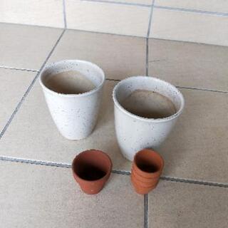 【交渉中】✿植木鉢【白陶器2点】✿✾・【オマケ…ぷち素焼き5点】
