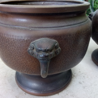 銅製 獅子頭 火鉢(3個)&火箸(3膳)