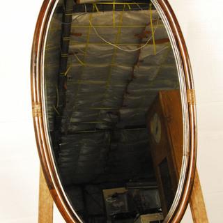 1045 木製フレーム 鏡 ウォールミラー 楕円形 壁掛け 枠 ...