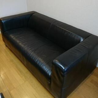 IKEA レザー 2人掛け ソファー ブラック