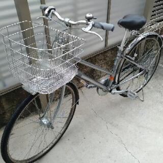 値下げ 27インチ 自転車 ゴムチェーン 内装3段変速 シルバー...
