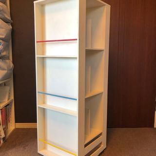 回転式本棚 引き出し付き 表紙が見える絵本棚 大容量 たっぷり収...