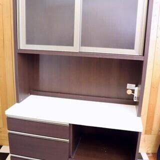 レンジボード 食器棚 1195×550×1900 ブラウン ソフ...