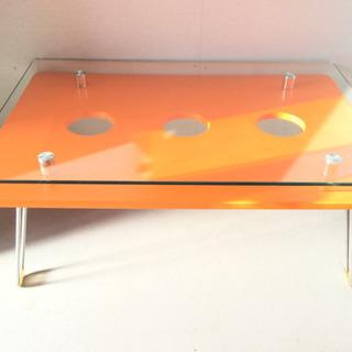 折りたたみ ローテーブル オレンジ色