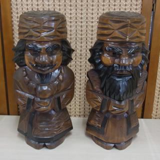 アイヌ 人形 木彫り 木製 北海道民芸品 2体セット ニポ…