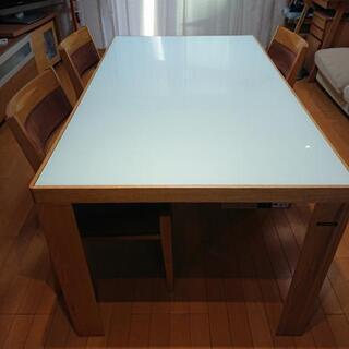 10/16受付け終了◆強化ガラストップダイニングテーブルセット