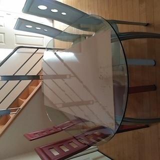 ガラス楕円のダイニングテーブル 椅子4脚セット