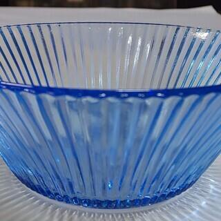 ガラス 小鉢 ブルー 5個 中古