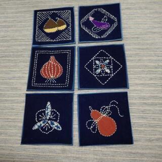 【新品】藍染 柄付 コースター 6枚