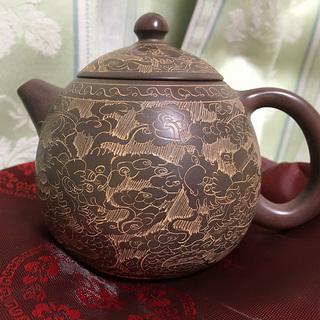 中国 欽陶居 急須 No.37 雲龍 蛋型 紫泥 白泥 紫砂 茶...