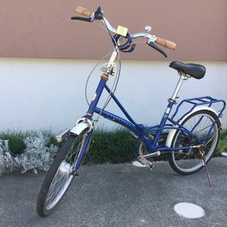 引取限定 20インチ折りたたみ自転車 青 シマノ製6段変速付き ...