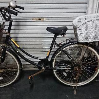 自転車24インチ 大きなカゴ&傘立て付き♪