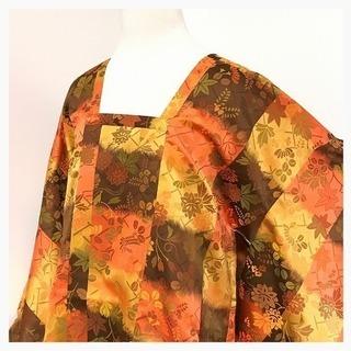 美品 道行コート 特選 逸品 正絹 身丈90 裄67 茶 織り模様