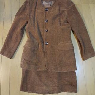 レディース秋冬上下 ブラウン 襟なし⚪️お洒落着 ドライクリーニング済