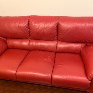 赤い高級ソファ 引き取り限定無料