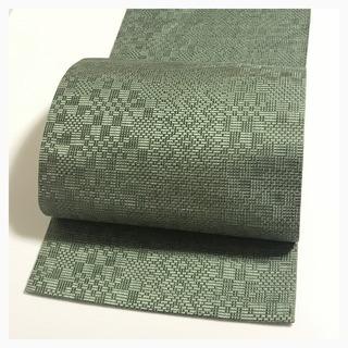 極上 美品 博多帯 八寸名古屋帯 渋いグリーン 色無地 織り模...