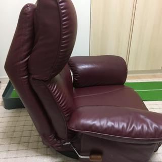 肘掛け付きレザー調リクライニング座椅子