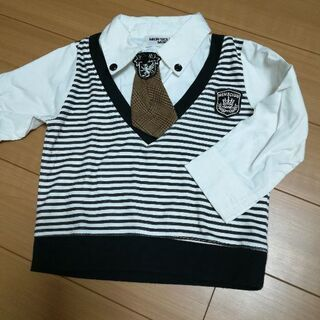 子供服90長袖ボーダーシャツ