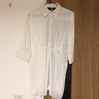 【クリーニング済】【COUP DE CHANCE】白い七分袖シャツ
